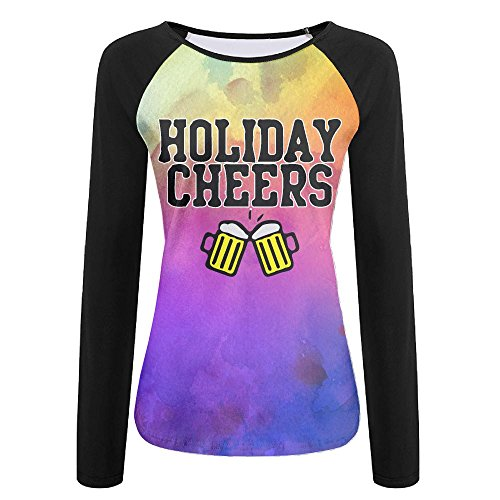 Christmas Holiday Cheers Irish Women's Printing Raglan Long Sleeve Tops Sweatshirt T-Shirt XL