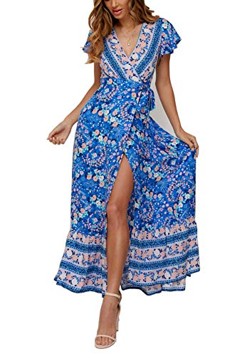 Yoonsoe Women's Summer Boho Floral Print Maxi Dress V Neck Split Long Party Wrap Dresses, Royal Blue, S