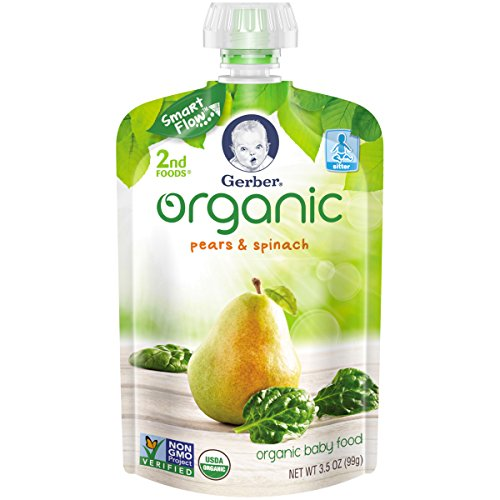 Gerber Organic 2nd Foods Baby Food, Pears & Spinach, 3.5 oz Pouch, 12 count