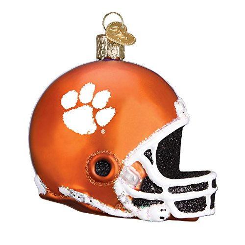 Old World Christmas Glass Blown Ornament with S-Hook and Gift Box, College Football Helmet Collection (Clemson) ()