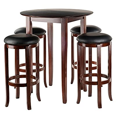 Wood & Style Premium Décor Round 5pc High/Pub Table Set with PVC Stools