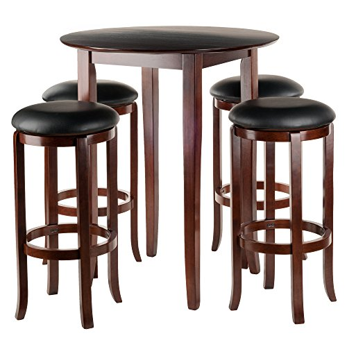 Winsome Fiona 5 Piece Round High Pub Table Set In Antique Walnut Finish