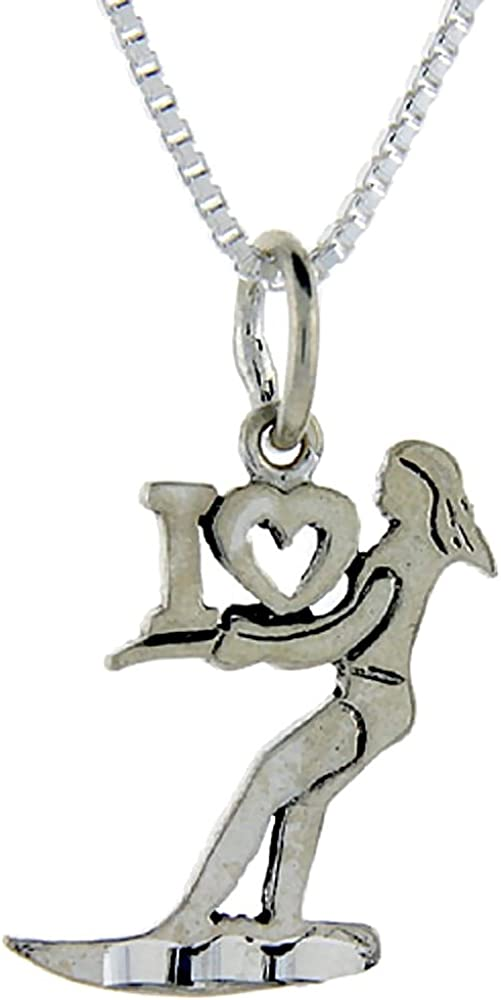 Sterling Silver I Love Surfing 1 inch wide Word Pendant.