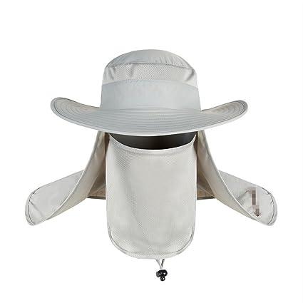 Adultos Sombrero De Pesca Tapa Desmontable cuello cara Flap Cap Verano  cubeta UPF 50 + Malla 682a46f90dc