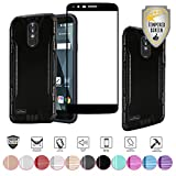 LG Stylo 3 Case, LG Stylo 3 Plus Case, with Full Edged Tempered Glass Screen Protector, Heavy Duty Metallic Brushed Slim Hybrid Shock Proof Dual layer Armor Defender Protective Case Cover (Black)