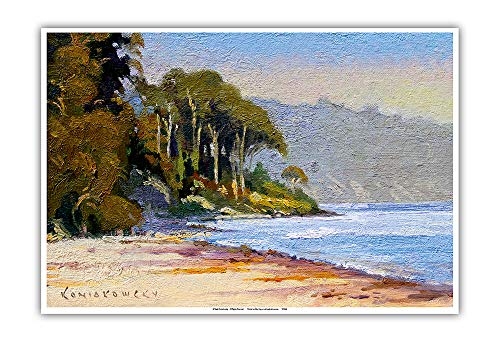 Pacifica Island Art - Goleta Beach - Santa Barbara, California - from an Original Color Painting by Wade Koniakowsky - Master Art Print - 13in x 19in