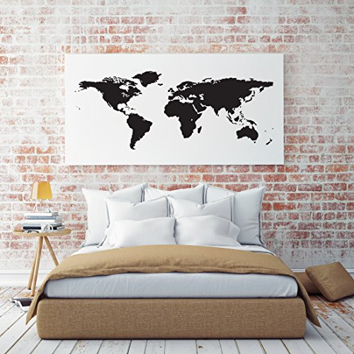 Black World Map Wall Decal Easy To Apply Modern Large Earth Mural Vinyl Atlas Graphic Wall