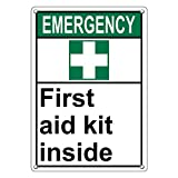 Weatherproof Plastic Vertical ANSI EMERGENCY First Aid Kit Inside Sign with English Text and Symbol