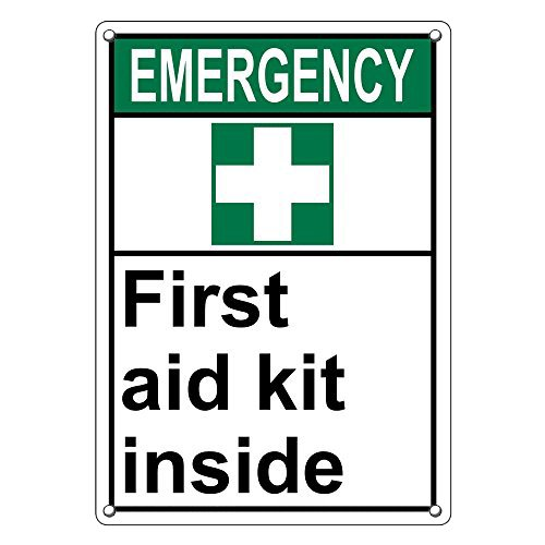 Weatherproof Plastic Vertical ANSI EMERGENCY First Aid Kit Inside Sign with English Text and Symbol by SignJoker