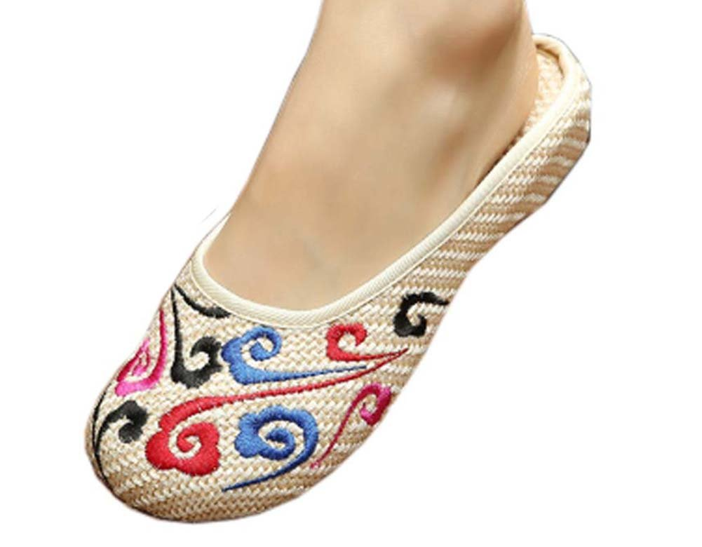 Womens Embroidered Summer Slippers Wedges Sandals Shoes for Cheongsam, 05