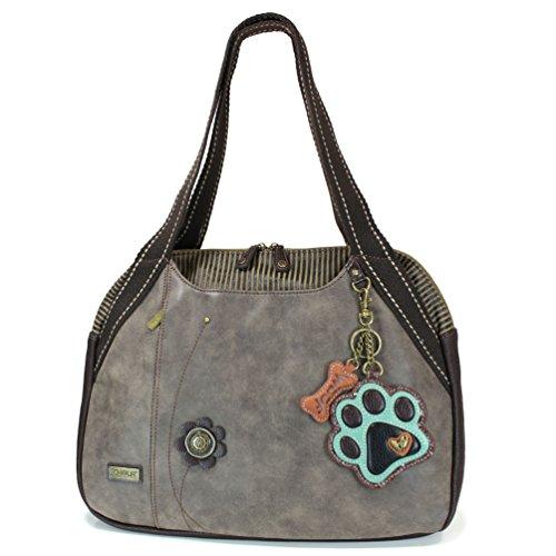 - Chala Paw Print Bowling Bag, Stone Gray- Teal Paw