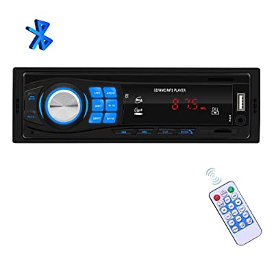 Single Din Car Stereo - 1 Din Bluetooth Car Radio Receiver Audio and Hands-Free Calling, Built-in Microphone, SD/USB/Aux-in, Car FM Media Player + Remote Control Indash Radio MP3 Player: Home Audio & Theater