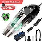 KUTIME Car Vacuum Cleaner High Power Wet Dry Vac with LED Light, DC