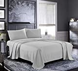 Fresh Linen Queen Sheets [4-Piece, Silver] Hotel Luxury Bed Sheets - Extra Soft 1800 Microfiber Sheet Set, Wrinkle, Fade, Stain Resistant - Deep Pocket Fitted Sheet, Flat Sheet, Pillow Cases Larger Image