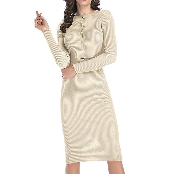 4830c985738 Faldas Mujer Largas,Modaworld Vestido De Moda De Invierno para Mujer Falda  Botón Manga Larga