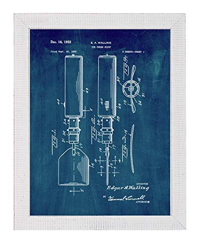 Ice Cream Scoop Patent Art Midnight Blue Print in a Distressed White Wood Frame (5