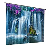 Purple Flower and Waterfall Print Polyester Durable Practical Window Treatment Decorative 3D Blackout Curtains,2 Panels(118W106″L) For Sale