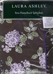 "Laura Ashley Hydrangea Jewel PEVA Flannel Back Tablecloth, 70"" Round"