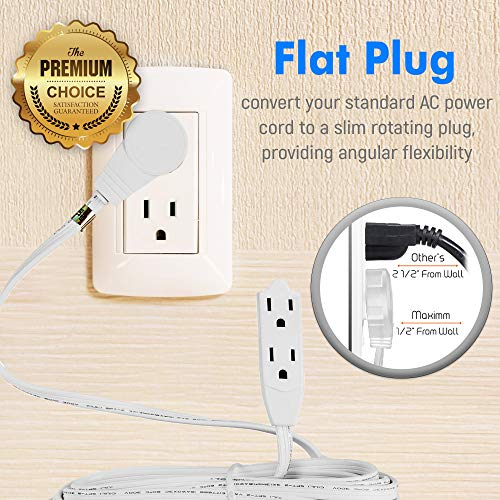 Maximm Cable 8 Ft 360° Rotating Flat Plug Extension Cord/Wire, 16 AWG Multi 3 Outlet Extension Wire, 3 Prong Grounded Wire - White - UL Listed