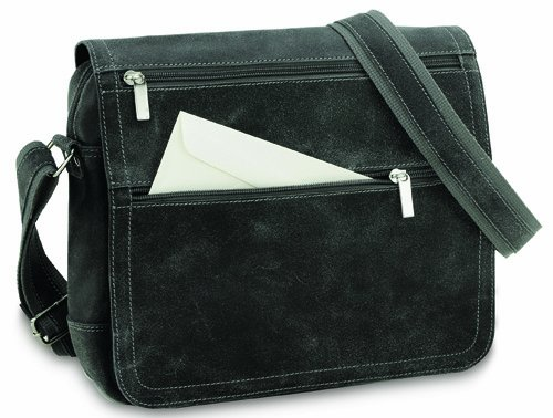 David King & Co. Double Zip On The Flap Messenger Distressed, Grey, One -