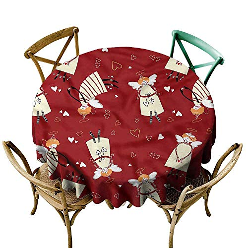 LsWOW 50 Inch Spots Round Table Cloth Angel Xmas Comic Hearts Myth Great for Bar & More