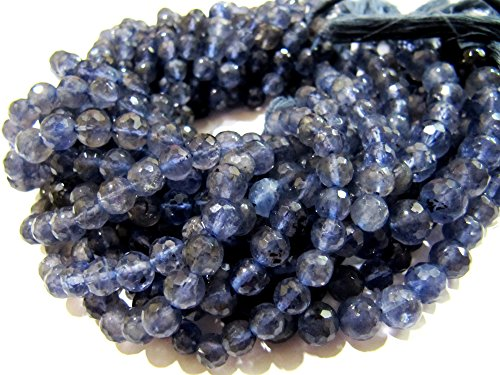 Natural Iolite Faceted Round Shape Beads / Exclusive Iolite Gemstone Beads / Size 5-6 mm / Strand 10 inches long ()