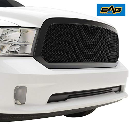 (EAG Replacement Grille Fit for 13-18 Dodge Ram 1500 - Matte Black ABS Mesh Grill)