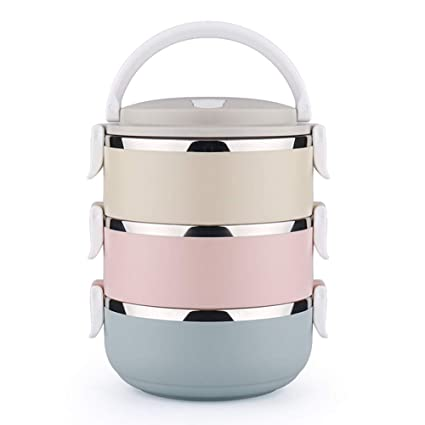 f2165f7d1a56 Thermal Lunch Box Bento Box Stainless Steel Food Storage Container 3 Layers  for Separating Food with Seal Lid for Men Women Work Lunches, Kids Picnic  ...