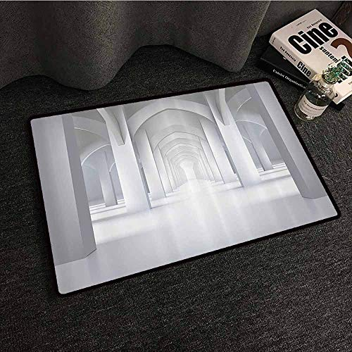 Apartment Decor Collection Interesting Doormat Long Hallway Illustration Museum Exhibition Room Palace Style Design Architecture Non-Slip Door mat pad Machine can be Washed W20 xL31 White Grey