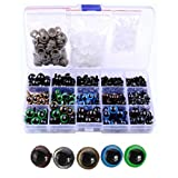 264PCS Plastic Black 6-12mm Safety Screw Eyes and 5 Assorted Colors 10mm/12mm Screw Eyes with Washers for DIY Toy Teady Bear Puppet Doll Making Accessories Supply