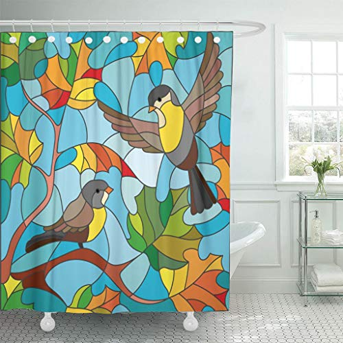 Emvency Fabric Shower Curtain with Hooks Orange Window in Stained Glass Style on The of Autumn Two Tits Sky and Maple Leaves Red 72