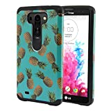 Nextkin LG G Vista VS880 G Pro 2 Lite D631 Dual Layer Hard Back Hybrid Protector Cover Anti Shock TPU Silicone Skin - Paradise Pineapples/ Black