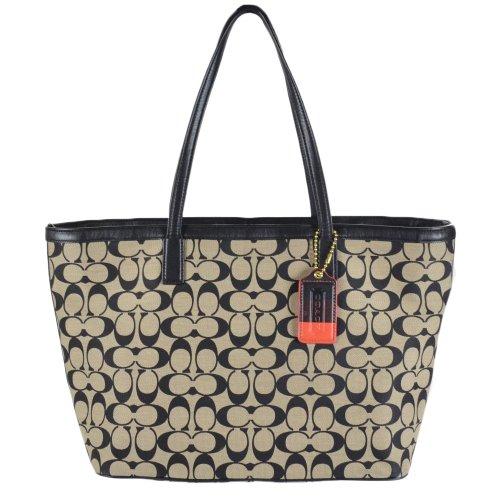 - Coach Legacy Weekend Signature Shopper Tote 23107 Khaki Black