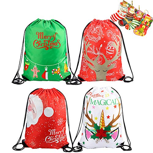 4 Pack Christmas Drawstring Backpacks Kids Party Favors Bags Gift Pack Gym Drawstring Sports Bags Candy Bags Santa Claus Unicorn Gift Bags for Kids