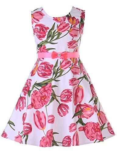 PrinceSasa Girls Sleeveless Vintage Print Swing Party Dresses,f05C,54''/8-9 Years(Size 140)