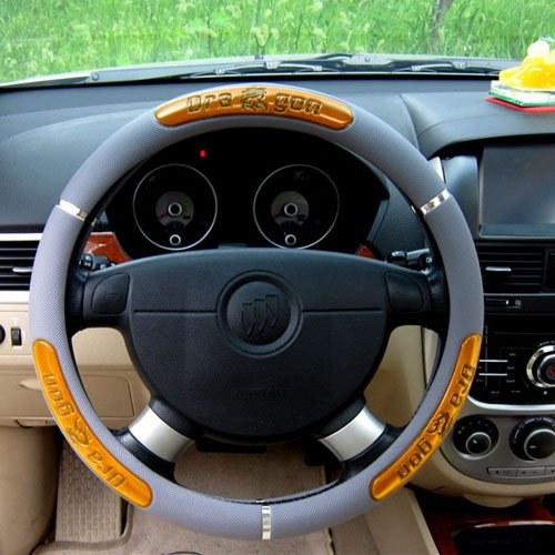 Hot Sell Dragon Design Leather Auto Car Steering Wheel Cover 38cm/15'' Anti-catch Holder Protector (Yellow)