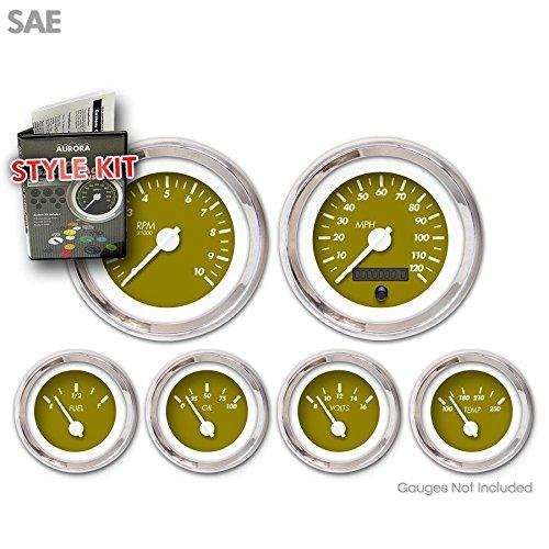 White Vintage Needles, Chrome Trim Rings Aurora Instruments 1219 Marker Green SAE Style Kit