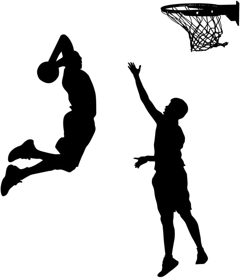 BooDecal DIY Vinyl Basketball Players Slam Dunk Silhouette Wall Decals Basketball Tournament Stickers for Boy Rooms Living Room Bedroom Decoration