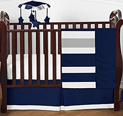 Modern Navy Blue and Gray Stripe Print Boys Baby Bedding 4 Piece Crib Set Without Bumper by Sweet Jojo Designs that we recomend personally.