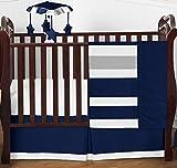 Modern Navy Blue and Gray Stripe Print Boys Baby Bedding 4 Piece Crib Set Without Bumper