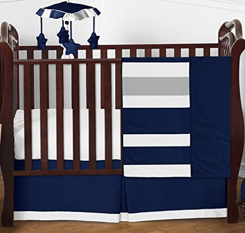 Modern Navy Blue and Gray Stripe Print Boys Baby Bedding 4 Piece Crib Set Without (Baby Bedding Diaper Stacker)