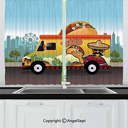 Blackout Window Curtains and Drapes for Kitchen,Taco Truck on The Road in City Delivery Fast Food Traditional Taste Takeaway Image,Home Decoration Curtain Set for Café, Bath, Laundry, Bedroom Rod