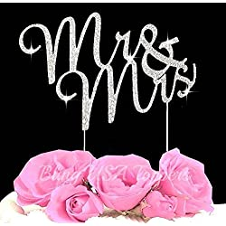 LuLu Sparkles LLC Crystal Rhinestone Bling Wedding Monogram Mr Mrs Cake Topper Wedding Cake Topper Bling Keepsake (1, Silver Clear)