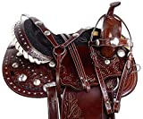 AceRugs Cowgirl Silver Barrel Racing Horse Saddle Western Show Premium Leather TACK Set Headstall REINS Breastplate