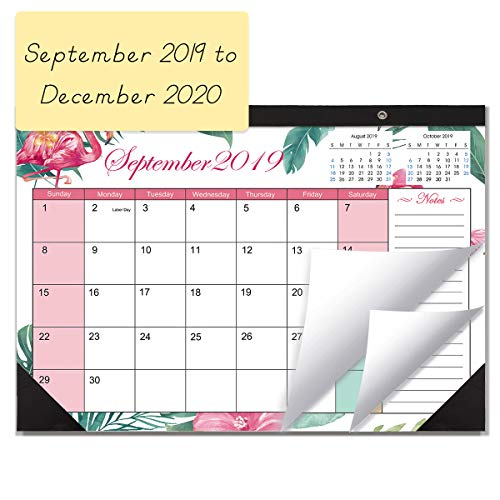 - Desk Calendar 2019-2020 Monthly Large Wall Calendar Planner with Plastic Cover, 11.5 X 17