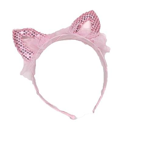 Bismarckbeer - Diademas de orejas de gato con lentejuelas para el pelo rosa rosa Talla: