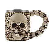 CHICHIC Halloween Skull Coffee Mug Beer Mug, Stainless Steel & Resin