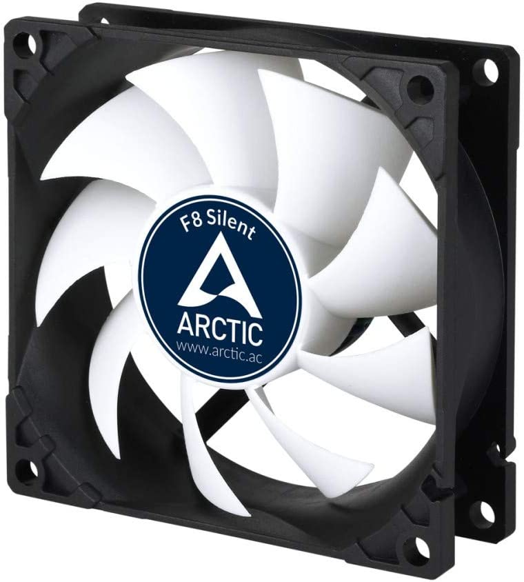 ARCTIC F8 Silent – 80 mm Ventilador de Caja para CPU, Motor Muy Silencioso, Computadora, 1200 RPM – Negro/Blanco