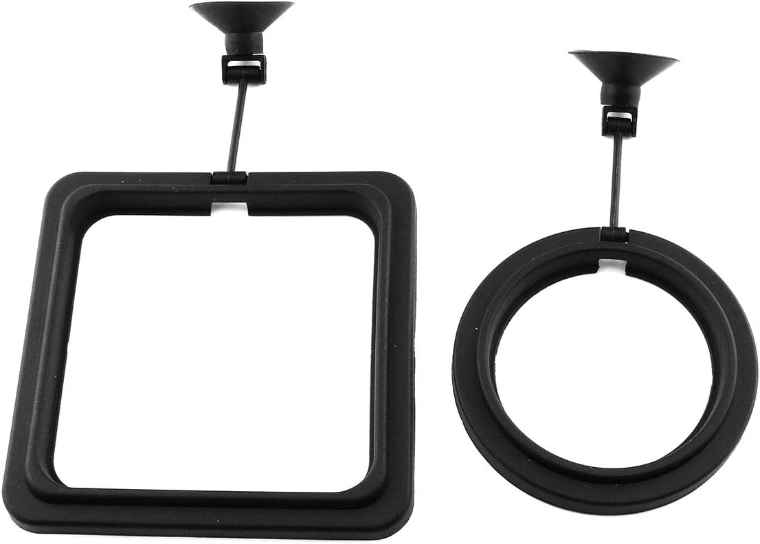 E-outstanding 2pcs Fish Feeding Ring Tropical Fish Food Ring Aquarium Fish Tank Accessories Water Plant Buoyancy Suction Cup (1 x Round Shape and 1 x Square Shape), Black