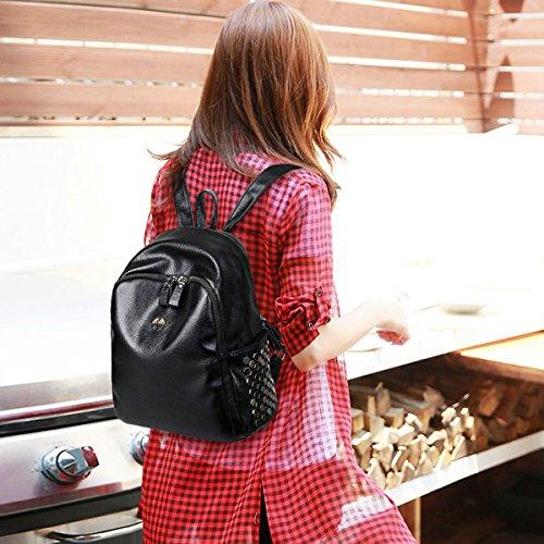 Mujer Juventud Mochila Estilo De La Universidad Bolsa De Estudiantes PU mochila Simple Bolsa De Viaje Gran Capacidad Bolsa Blue